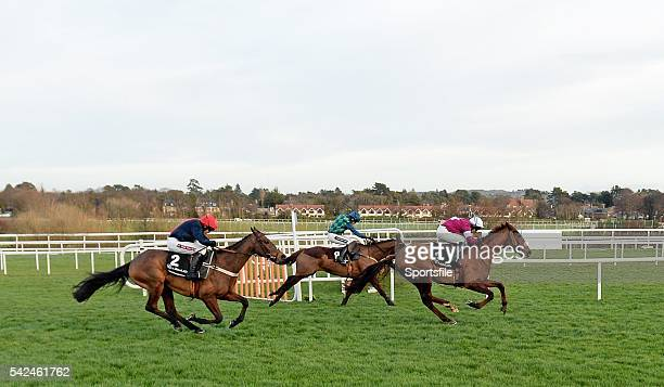 December 2013; Bobs Worth, with Barry Geraghty up, left, goes past second place First Lieutenant, with David Casey, right, and third place Rubi Ball...