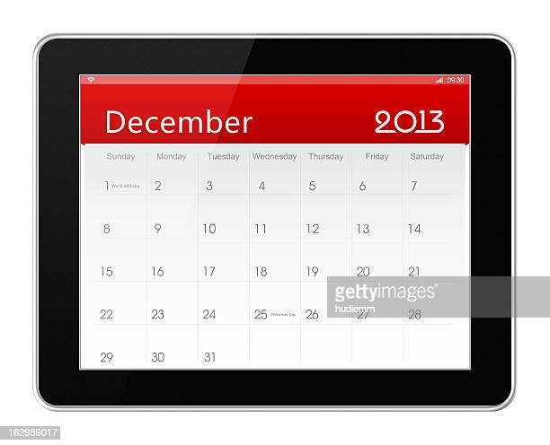 De Dezembro de 2013 calendário sobre tablet digital