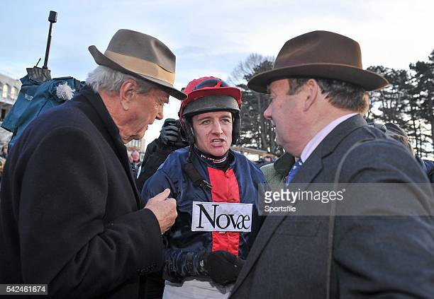 December 2013; Jockey Barry Geraghty speaking with trainer Nicky Henderson, right, and part- owner Malcolm Kimmins, left, after Bobs Worth won The...