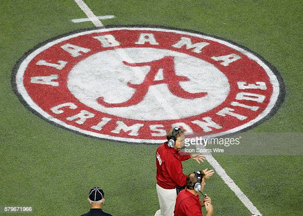 Alabama Crimson Tide head coach Nick Saban reacts with the Crimson Tide logo in the background in the Alabama Crimson Tide 4213 victory over the...