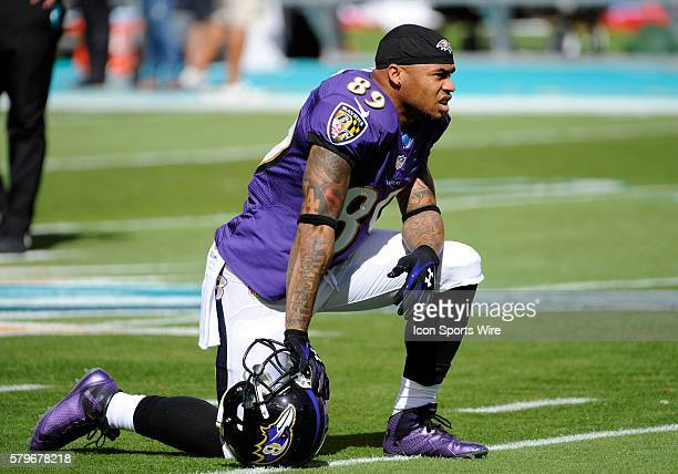 Baltimore Ravens Wide Receiver Steve Smith kneels on the field with his helmet before the NFL football game between the Baltimore Ravens and the...