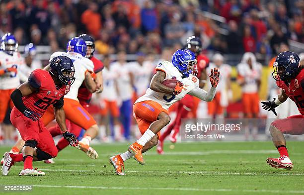 Boise State Broncos cornerback Donte Deayon runs up field during the first half of the Vizio Fiesta Bowl game between the Arizona Wildcats and the...