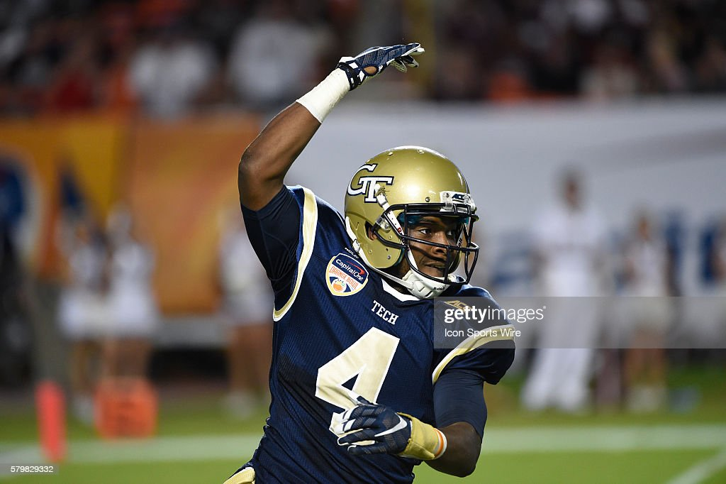 c67f0ee973366 Georgia Tech Yellow Jackets Defensive Back Jamal Golden (4) gestures during  the Capital One