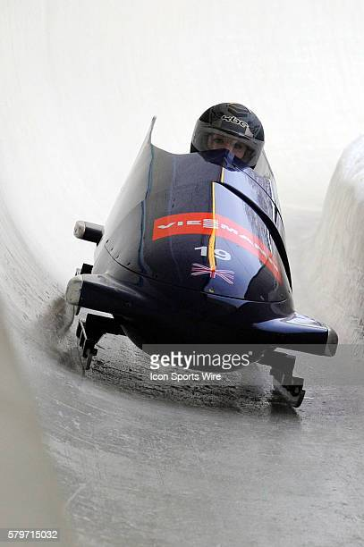 Great Britain 1 driven by Mica McNeill with brakeman Nikki McSweeney slides on the track at the Olympic Sports Complex in Lake Placid NY in the...
