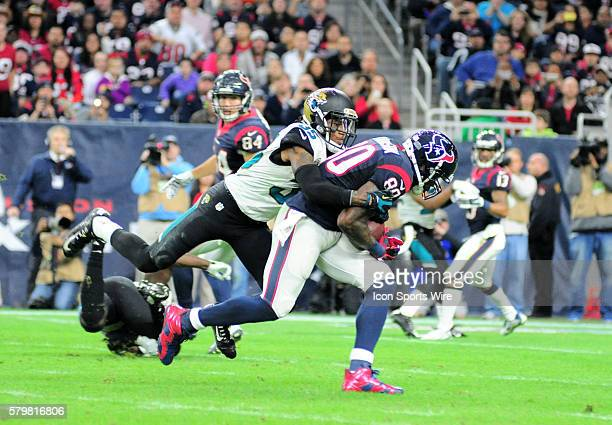 Jaguars CB Demetrius McCray tackles Andre Johnson during 23 17 loss to the Texans at NRG Stadium in Houston TX