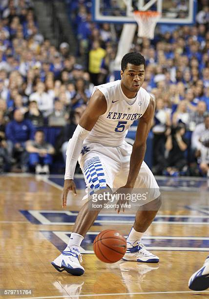 Kentucky Wildcats guard Andrew Harrison in a game between the Columbia University Lions and the Kentucky Wildcats at Rupp Arena in Lexington, KY.
