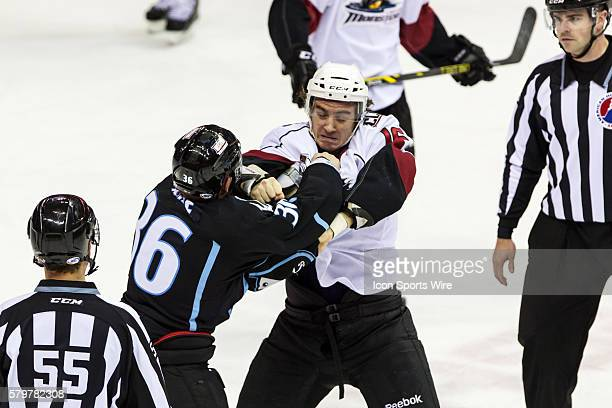 Lake Erie Monsters D Duncan Siemens and Milwaukee Admirals LW Richard Clune fight during the game between the Milwaukee Admirals and Lake Erie...