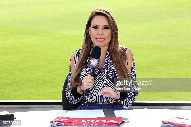 Lindsay Casinelli a cohost of Univision's Republica Deportiva which aired from the field before the game The Los Angeles Galaxy played the New...