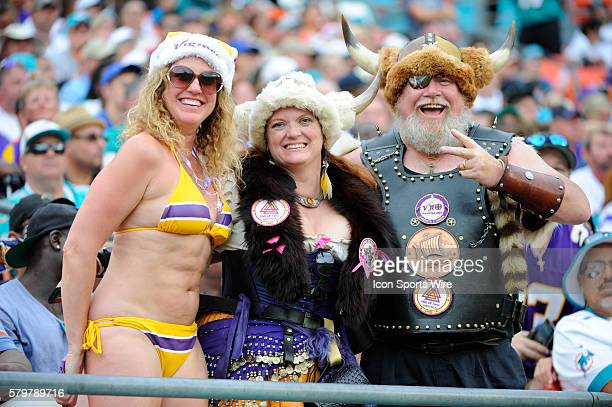 Minnesota Vikings fans cheer in the stands the during the NFL football game between the Minnesota Vikings and the Miami Dolphins at the Sun Life...