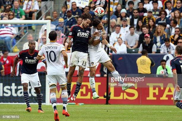 New England's Jermaine Jones and Los Angeles's Alan Gordon challenge for a header. The Los Angeles Galaxy played the New England Revolution in...