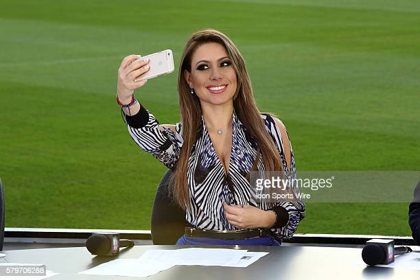 Univision's Republica Deportiva host Lindsay Casinelli takes a selfie on the set on the sidelines of the field before the game The Los Angeles Galaxy...