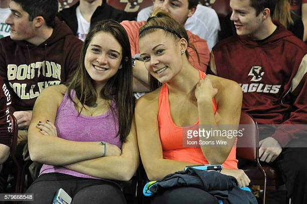 Boston College Eagles fans all smiles as they watch their team during the Boston College Eagles game against the Providence College Friars at Conte...