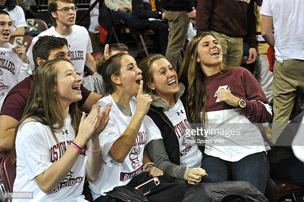 Boston College Eagles fans get fired up for the TV camera during the Boston College Eagles game against the Providence College Friars at Conte Forum...