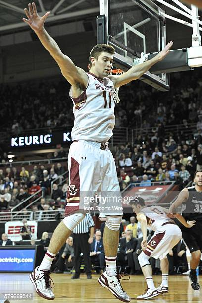 Boston College Eagles forward Will Magarity tries to block the inbound pass during the Boston College Eagles game against the Providence College...