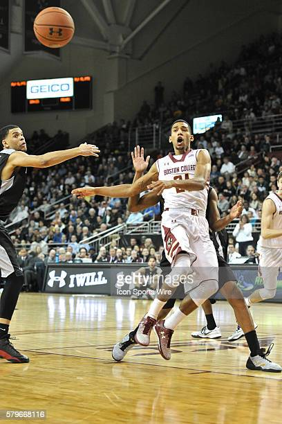 Boston College Eagles guard Olivier Hanlan fires a pass back outside instead of taking the shot during the Boston Eagles game against the Providence...