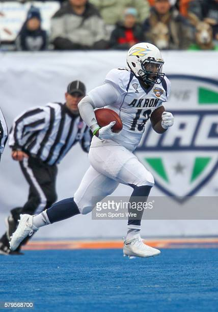 Akron Zips quarterback Thomas Woodson during Famous Idaho Potato Bowl game between the Akron Zips and the Utah State Aggies at Albertsons Stadium in...