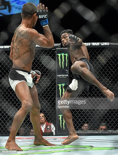 10 December 2015 Aljamain Sterling right in action against Johnny Eduardo during their bantamweight bout UFC Fight Night VanZant v Namajunas The...