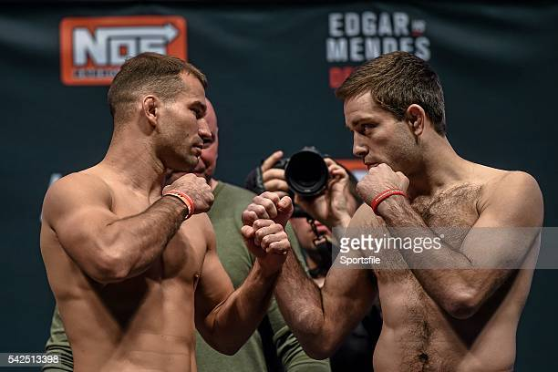 10 December 2015 Artem Lobov left faces off against Ryan Hall ahead of their featherweight bout The Ultimate Fighter Finale WeighIn MGM Grand Garden...