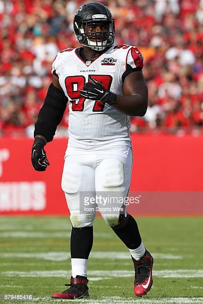 Atlanta Falcons defensive tackle Grady Jarrett during the NFL game between the Atlanta Falcons and Tampa Bay Buccaneers at Raymond James Stadium in...