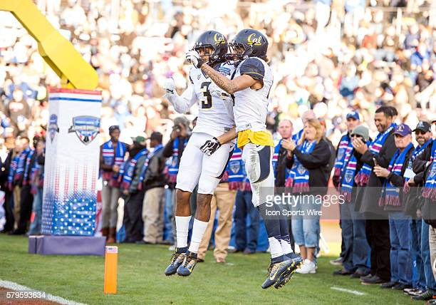 California Golden Bears wide receiver Kenny Lawler celebrates with California Golden Bears wide receiver Maurice Harris after scoring a touchdown...