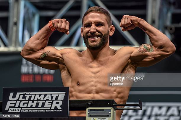 10 December 2015 Chad Mendes weighs in ahead of his featherweight bout against Frankie Edgar The Ultimate Fighter Finale WeighIn MGM Grand Garden...