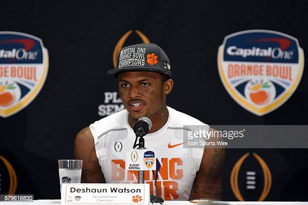 Clemson Tigers quarterback Deshaun Watson answers media questions after the game in action during the College Football Playoff Semifinal Orange Bowl...