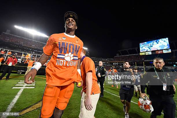 Clemson Tigers quarterback Deshaun Watson celebrates with teammates and fans after the game in action during the College Football Playoff Semifinal...
