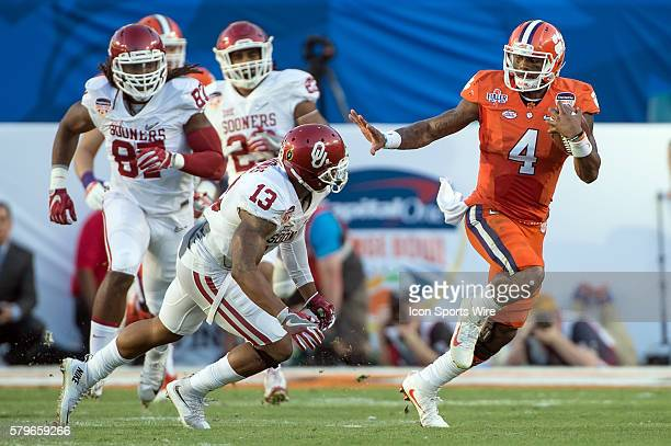 Clemson Tigers quarterback Deshaun Watson in action during the College Football Playoff Semifinal Orange Bowl Game between the Oklahoma Sooners and...