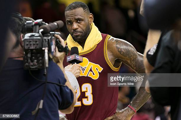 Cleveland Cavaliers Forward LeBron James being interviews after the game between the Oklahoma City Thunder and the Cleveland Cavaliers at Quicken...