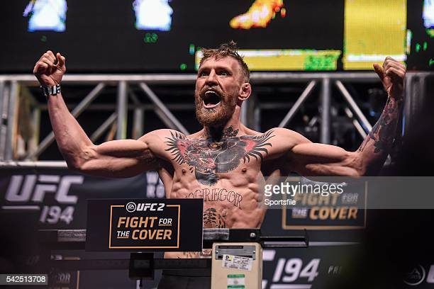 December 2015; Conor McGregor weighs in ahead of his featherweight bout against Jose Aldo. UFC 194: Weigh-In, MGM Grand Garden Arena, Las Vegas, USA....
