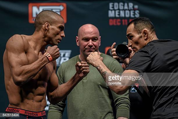 10 December 2015 Edson Barboza left faces off against Tony Ferguson ahead of their lightweight bout The Ultimate Fighter Finale WeighIn MGM Grand...