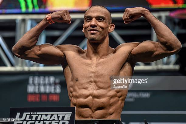 10 December 2015 Edson Barboza weighs in ahead of his lightweight bout against Tony Ferguson The Ultimate Fighter Finale WeighIn MGM Grand Garden...