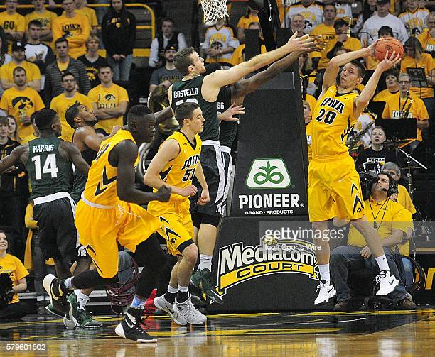 Iowa Hawkeyes forward Jarrod Uthoff hauls down a rebound in the second half during a Big Ten Conference basketball game between the Michigan State...