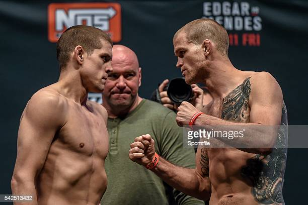 10 December 2015 Joe Lauzon left faces off against Evan Dunham ahead of their lightweight bout The Ultimate Fighter Finale WeighIn MGM Grand Garden...
