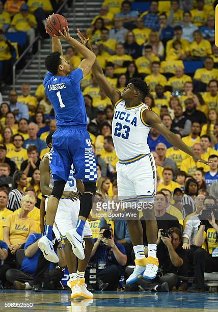 Kentucky Skal Labissiere shoots over UCLA Tony Parker during an NCAA basketball game between the Kentucky Wildcats and the UCLA Bruins at Pauley...
