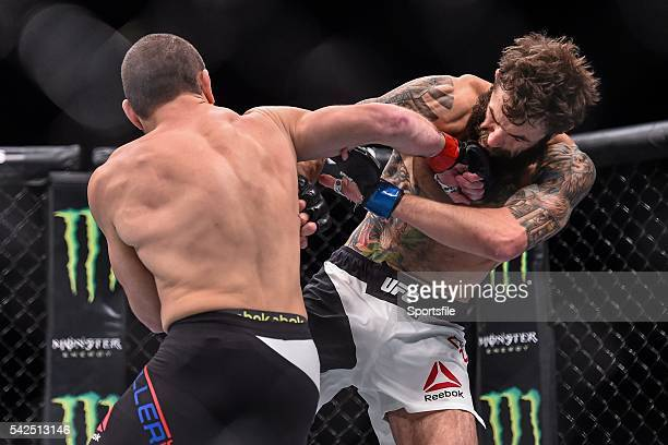 10 December 2015 Michael Chiesa right in action against Jim Miller during their lightweight bout UFC Fight Night VanZant v Namajunas The Chelsea at...
