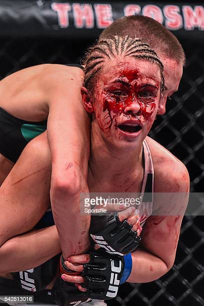 December 2015; Paige VanZant, right, in action against Rose Namajunas during their strawweight bout. UFC Fight Night: VanZant v Namajunas, The...