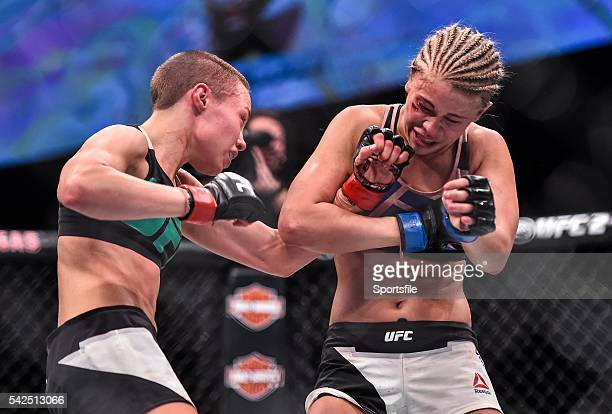 10 December 2015 Paige VanZant right in action against Rose Namajunas during their strawweight bout UFC Fight Night VanZant v Namajunas The Chelsea...