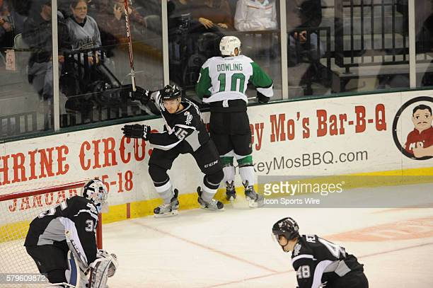 San Antonio Rampage defender Duncan Siemens checks Justin Dowling during 5 4 win over the Texas Stars at the Cedar Park Center in Cedar Park TX