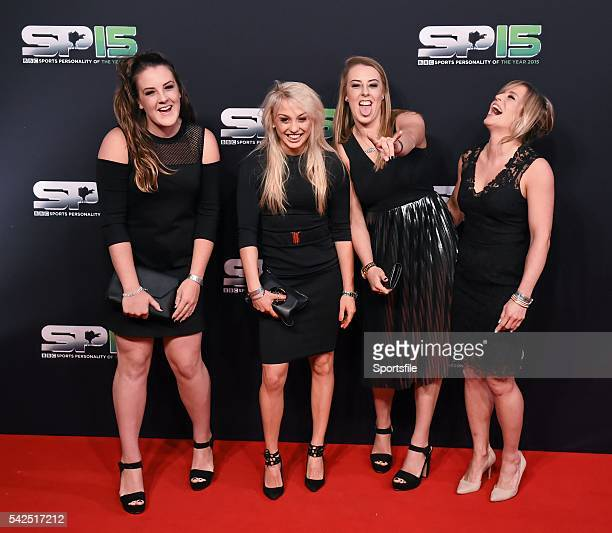 20 December 2015 Snowboarder Jenny Jones right and friends arrive to BBC Sports Personality of the Year 2015 at the Titanic Belfast Titanic Quarter...