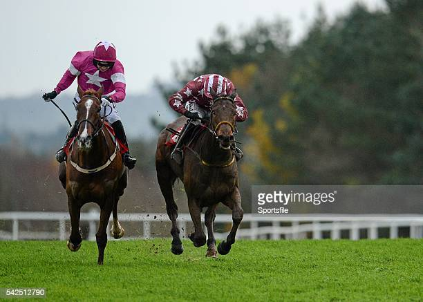 6 December 2015 Tamlough Boy right with Nina Carberry up over takes favourite Blow by Blow with Patrick Mullins up on their way to winning the Old...