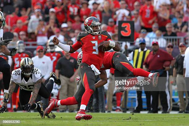 Tampa Bay Buccaneers quarterback Jameis Winston runs for a first down in the 2nd quarter of the NFL game between the New Orleans Saints and Tampa Bay...