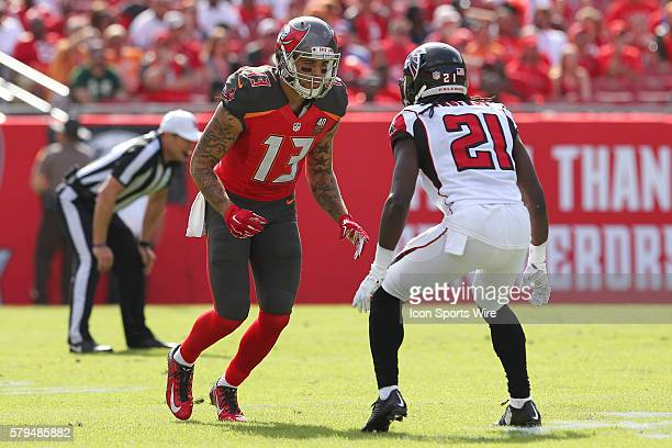 Tampa Bay Buccaneers wide receiver Mike Evans is covered by Atlanta Falcons cornerback Desmond Trufant during the NFL game between the Atlanta...