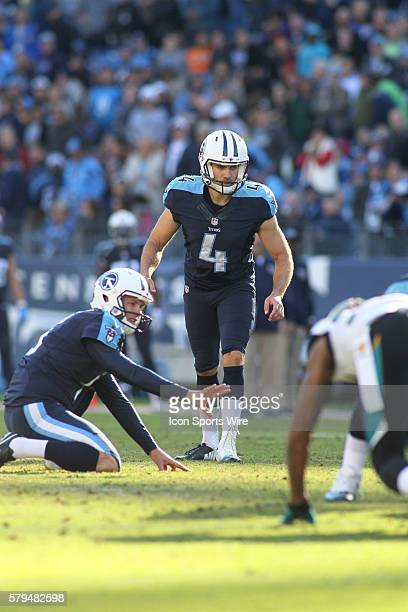Tennessee Titans Place Kicker Ryan Succop and holder Tennessee Titans Punter Brett Kern during the NFL football game between the Jacksonville Jaguars...