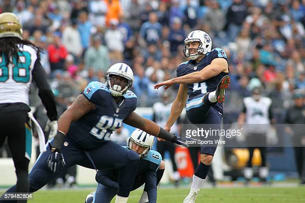 Tennessee Titans Place Kicker Ryan Succop during the NFL football game between the Jacksonville Jaguars and the Tennessee Titans The Titans defeated...