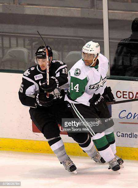 Texas Stars center Gemel Smith is defended by Duncan Siemens during 5 4 loss to the San Antonio Rampage at the Cedar Park Center in Cedar Park TX