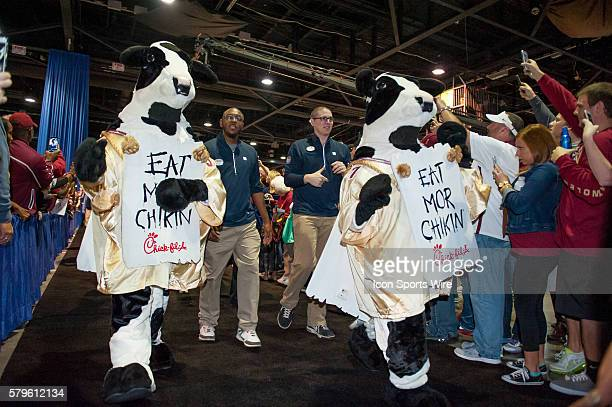 The ChickFilA cows lead the Florida State Seminoles through the Fan Fest before the 2015 ChickFilA Peach Bowl between the Florida State Seminoles and...
