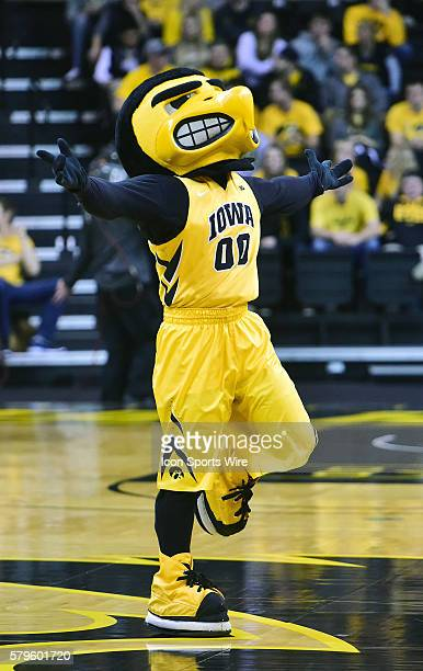 The Iowa Hawkeyes mascot, Herky, during a Big Ten Conference basketball game between the Michigan State Spartans and the Iowa Hawkeyes at Carver...