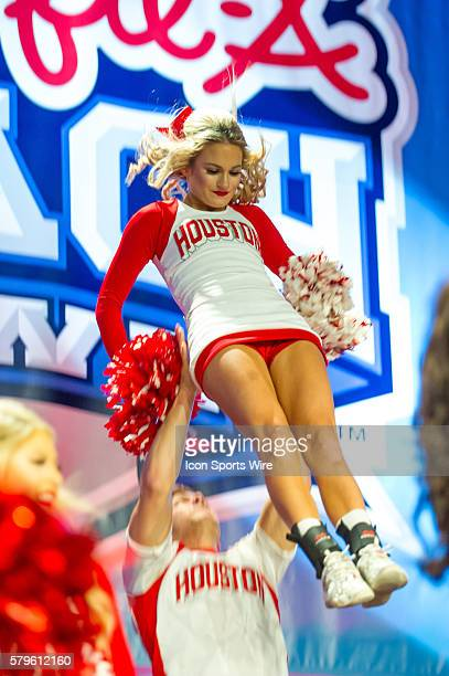 The University Houston Cougars Cheerleaders at Fan Fest before the 2015 ChickfilA Bowl with the Florida State Seminoles and the Houston Cougars at...