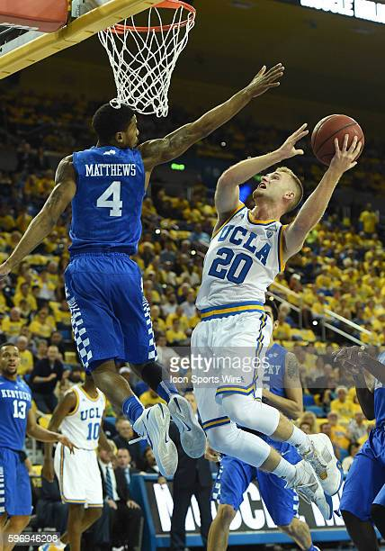 UCLA Bryce Alford puts up a shot around Kentucky Charles Matthews during an NCAA basketball game between the Kentucky Wildcats and the UCLA Bruins at...